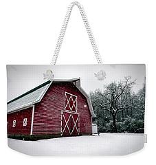 Big Red Barn In Snow Weekender Tote Bag