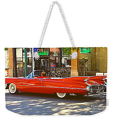 Big Red Cadillac Convertible Summer In The City Weekender Tote Bag