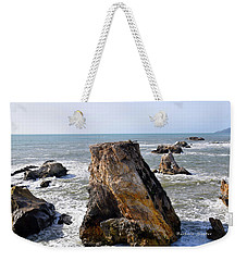 Weekender Tote Bag featuring the photograph Big Rocks In Grey Water by Barbara Snyder