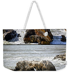 Weekender Tote Bag featuring the photograph Big Rocks In Grey Water Duo by Barbara Snyder