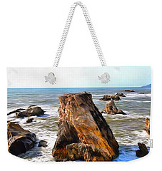Weekender Tote Bag featuring the photograph Big Rocks In Grey Water Painting by Barbara Snyder