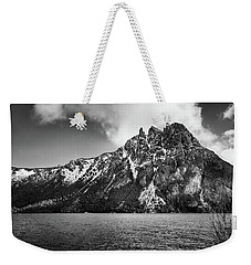 Big Snowy Mountain In Black And White Weekender Tote Bag