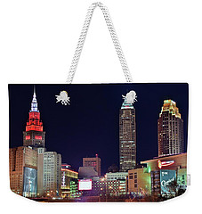 Weekender Tote Bag featuring the photograph Big Three In Cle by Frozen in Time Fine Art Photography