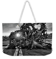 Big Tree On The Beach At Sunrise In Monochrome Weekender Tote Bag