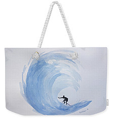Weekender Tote Bag featuring the painting Big Wave Surfing by Edwin Alverio