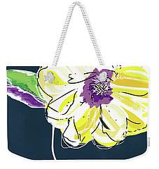 Weekender Tote Bag featuring the mixed media Big Yellow Flower- Art By Linda Woods by Linda Woods