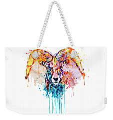Weekender Tote Bag featuring the mixed media Bighorn Sheep Portrait by Marian Voicu