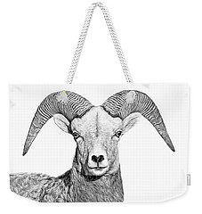 Weekender Tote Bag featuring the photograph Bighorn Sheep Ram Black And White by Jennie Marie Schell