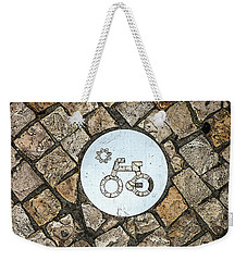 Bike Path Sign On A Cobblestone Pavement Weekender Tote Bag