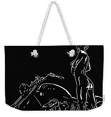Weekender Tote Bag featuring the drawing Biker Biach by Mayhem Mediums