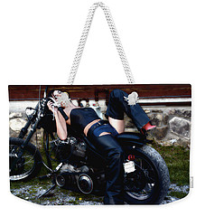 Bikes And Babes Weekender Tote Bag by Clayton Bruster