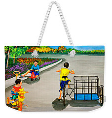 Weekender Tote Bag featuring the painting Bikes by Cyril Maza