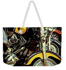 Weekender Tote Bag featuring the photograph Bikes In A Row by Samuel M Purvis III