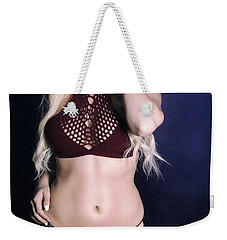 Bikini Blonde On Blue Weekender Tote Bag