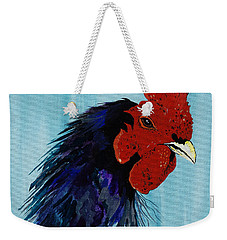 Weekender Tote Bag featuring the painting Billy Boy The Rooster by Janice Rae Pariza