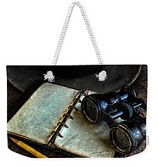 Binoculars Fedora And Notebook Weekender Tote Bag by Jill Battaglia