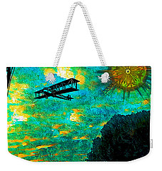 Weekender Tote Bag featuring the digital art Biplane by Iowan Stone-Flowers