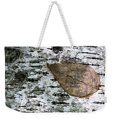 Birch And Fall Leaf Weekender Tote Bag by Mary Bedy