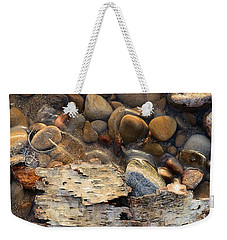 Birch Bark And Ice In The Creek Four  Weekender Tote Bag