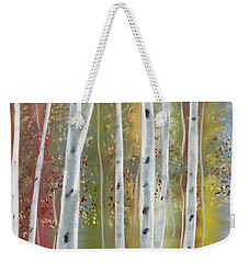 Weekender Tote Bag featuring the digital art Birch Forest by Paula Brown