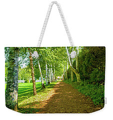 Weekender Tote Bag featuring the photograph Birch Gauntlet by Greg Fortier