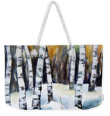 The White Of Winter Birch Weekender Tote Bag by Inese Poga