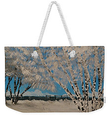 Birch Snow Weekender Tote Bag