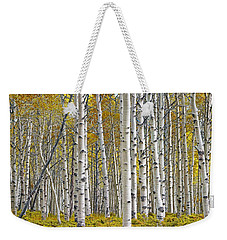Birch Tree Grove With A Touch Of Yellow Color Weekender Tote Bag