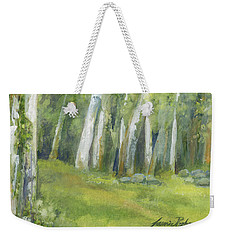 Birch Trees And Spring Field Weekender Tote Bag