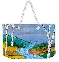 Birch Trees And Stream Weekender Tote Bag