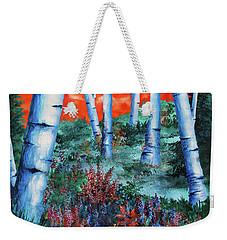 Birch Trees At Sunset Weekender Tote Bag