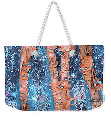 Weekender Tote Bag featuring the mixed media Birch Trees With Eyes by Genevieve Esson