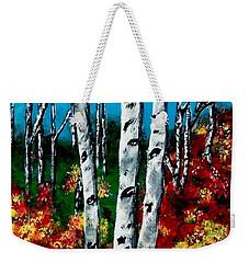 Weekender Tote Bag featuring the painting Birch Woods 2 by Sonya Nancy Capling-Bacle