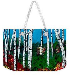 Weekender Tote Bag featuring the painting Birch Woods by Sonya Nancy Capling-Bacle