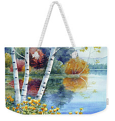 Birches At White Lake In Autumn Weekender Tote Bag