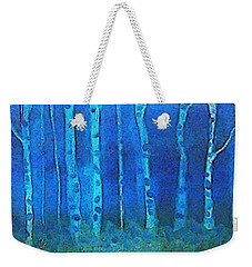Birches In Moonlight Weekender Tote Bag by Holly Martinson