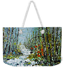 Birches Near Waterfall Weekender Tote Bag