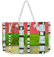 Birches With Green And Cream Weekender Tote Bag