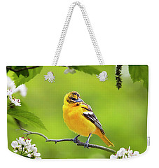 Bird And Blooms - Baltimore Oriole Weekender Tote Bag by Christina Rollo