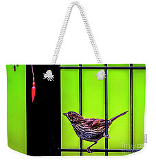 Bird And Red Fuchsia Flower Weekender Tote Bag