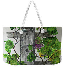 Weekender Tote Bag featuring the painting Bird Condo by Jack G Brauer