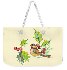 Bird Holly And Berries Weekender Tote Bag