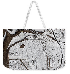 Bird House In Snow Weekender Tote Bag