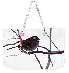 Weekender Tote Bag featuring the photograph Bird In A Winter Bush. by Roger Bester
