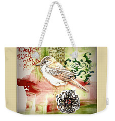 Weekender Tote Bag featuring the mixed media Bird Love by Rose Legge