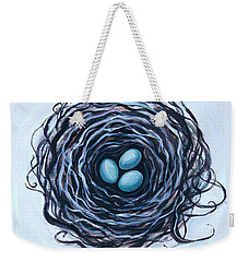 Weekender Tote Bag featuring the painting Bird Nest And Eggs by Elizabeth Robinette Tyndall