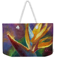 Weekender Tote Bag featuring the painting Bird Of Paradise - Tropical Hawaiian Flowers by Karen Whitworth