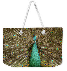 Weekender Tote Bag featuring the photograph Peacock by Werner Padarin