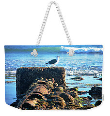 Bird On Perch At Beach Weekender Tote Bag