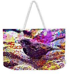Weekender Tote Bag featuring the digital art Bird The Sparrow Nature Pen  by PixBreak Art